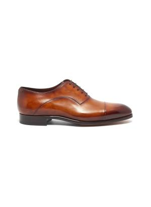 Leather round toe wholecut oxford shoes