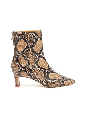 'Ivy' thin block heel snake embossed leather ankle boots