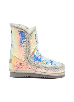'Eskimo Tall' croc-embossed leather kids winter boots