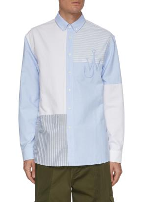 Logo Embroidered Patchwork Shirt