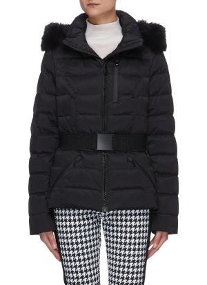 Soldis' belted fox trim hooded performance puffer jacket
