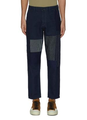 Sashiko Patchwork Straight Leg Denim Jeans