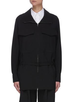 Belted Stand Collar Patch Pocket Jacket