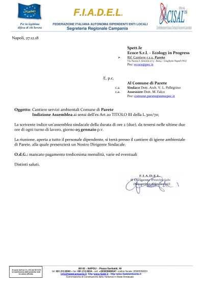 Cant. r.s.u. Parete - Indizione Assemblea - Azienda Ecoce-1