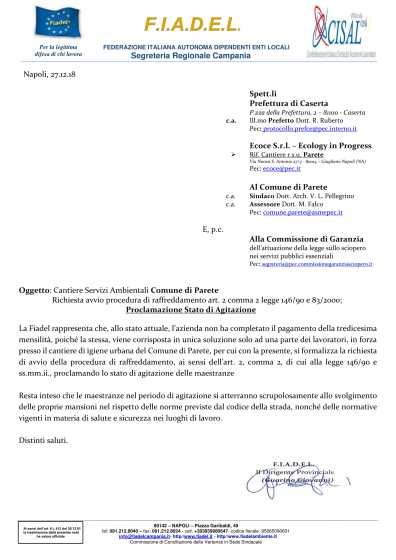 Cant. r.s.u. Parete - Proclamazione Stato di Agitazione - Azienda Ecoce-1