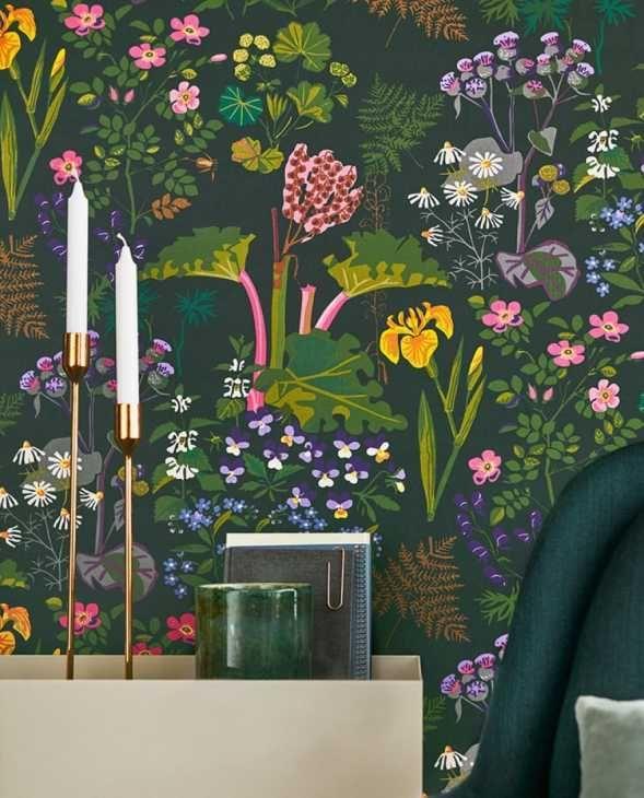 Disegni di carta da parati vivaci e lussureggianti! Carta Da Parati Stile Botanico