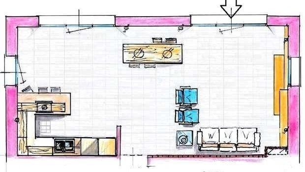Aggiungere un elemento separatorio di risalto Progetto Cucina E Soggiorno 40 Mq