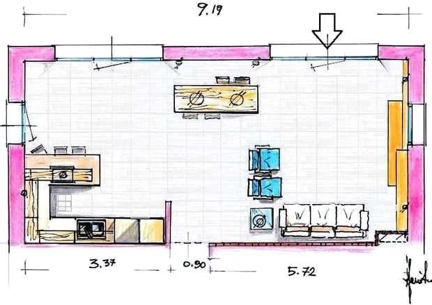 2 storey small house design philippines with floor plan. Progetto Cucina E Soggiorno 40 Mq