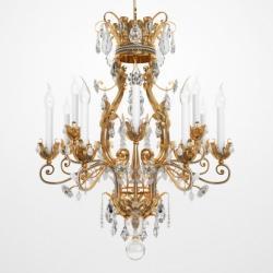 lampadario stile maria teresa in cristallo di bohemia e struttura in metallo. Lampadario A Gocce