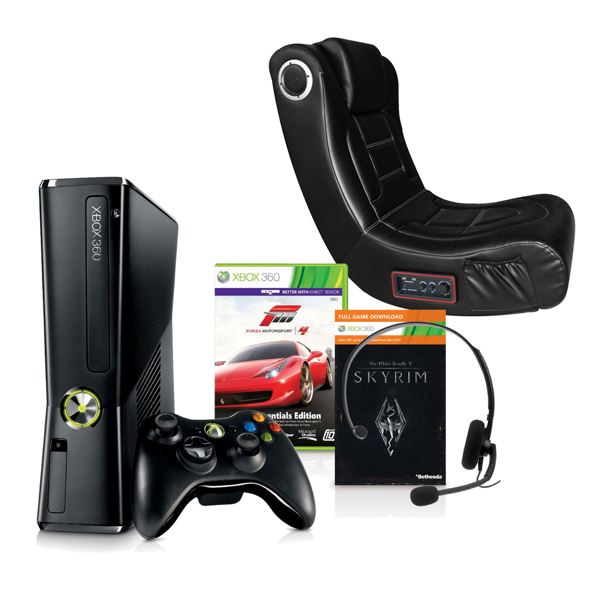 xbox gaming chair wooden restaurant chairs microsoft 360 250 go pack forza motorsport 4 43 skyrim