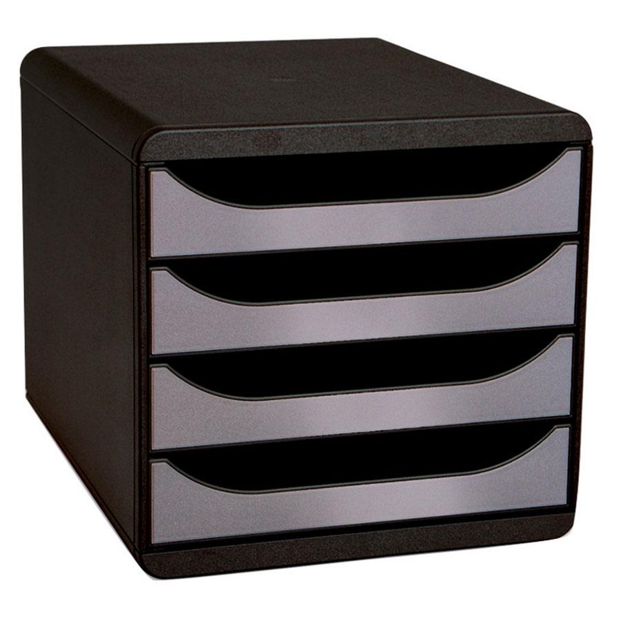 Exacompta Big Box 4 Tiroirs Noirargent Module De