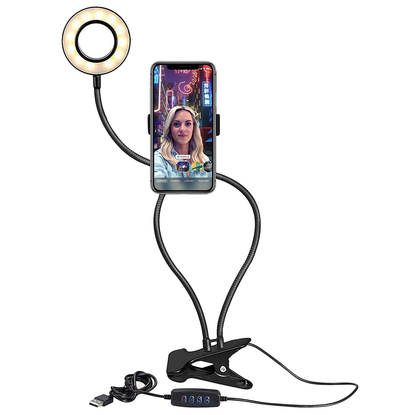 support bureau lampe led 3 modes eclairage flexible rotatif 360 noir