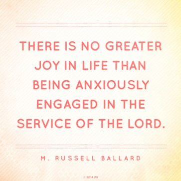 "A faded background with a pink text overlay quoting Elder M. Russell Ballard: ""Anxiously engaged in the service of the Lord."""