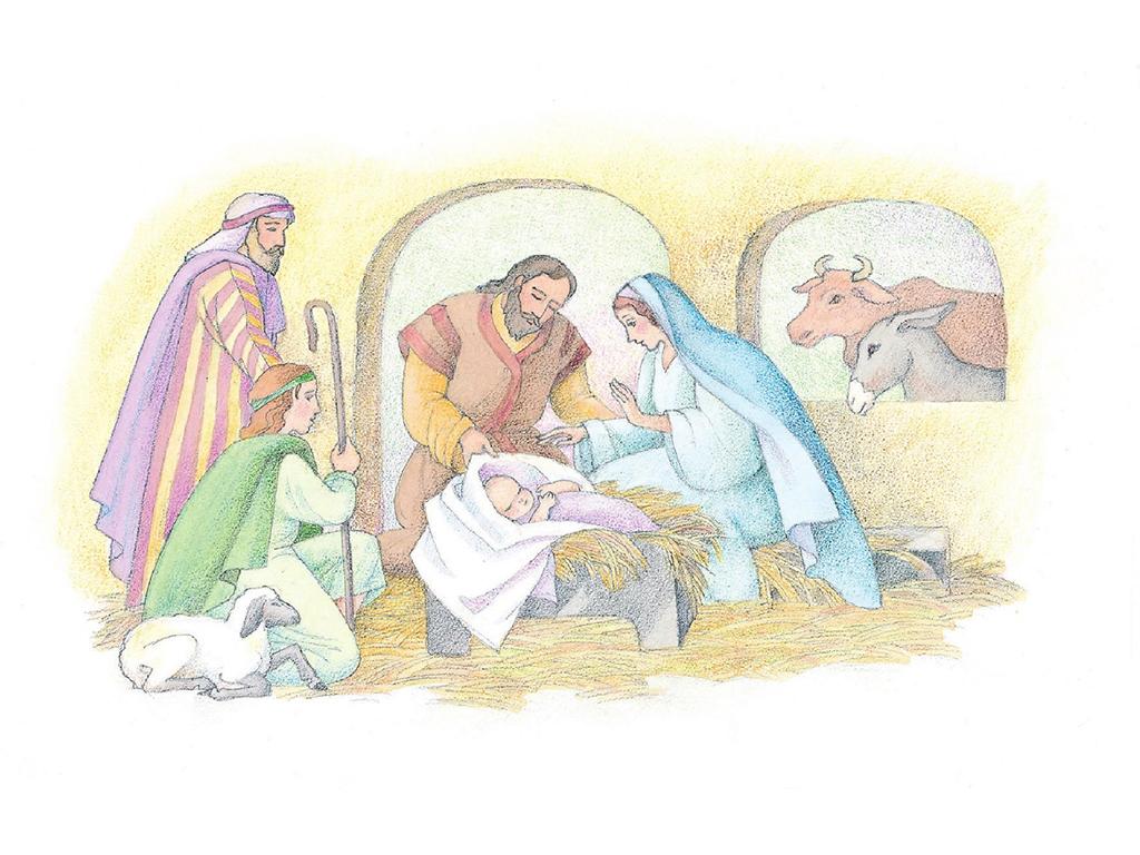 Shepherds Kneel Before Jesus