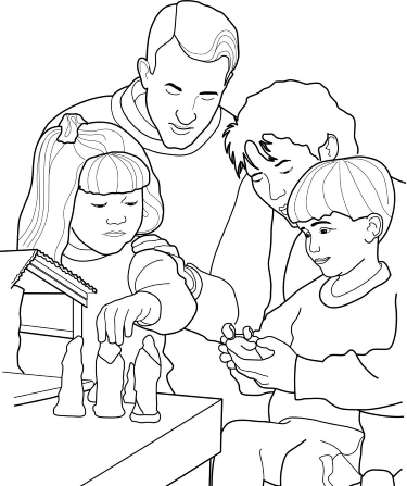 Family Setting Up the Nativity Scene