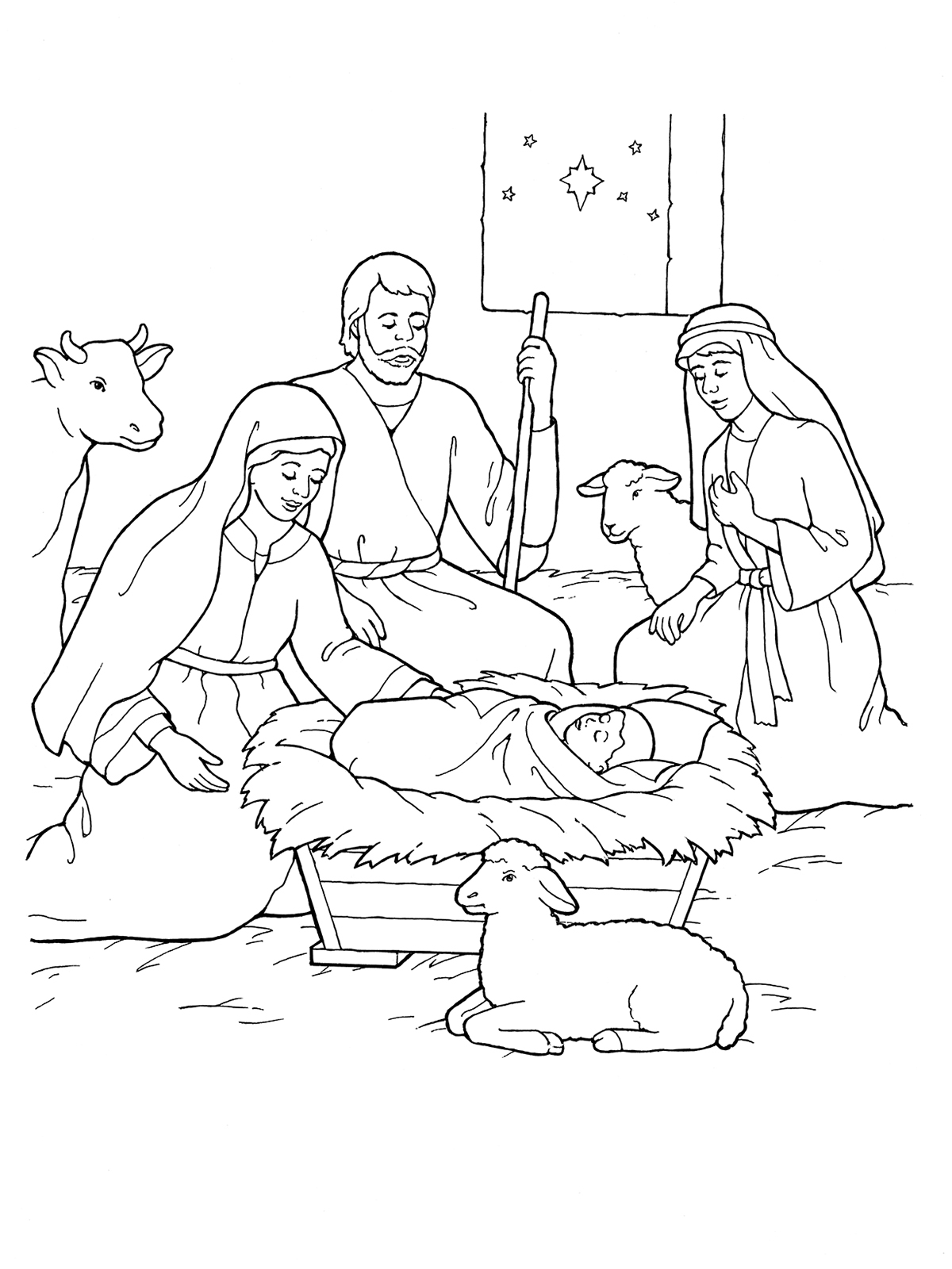 Nativity: Mary, Joseph, Jesus, and the Shepherds