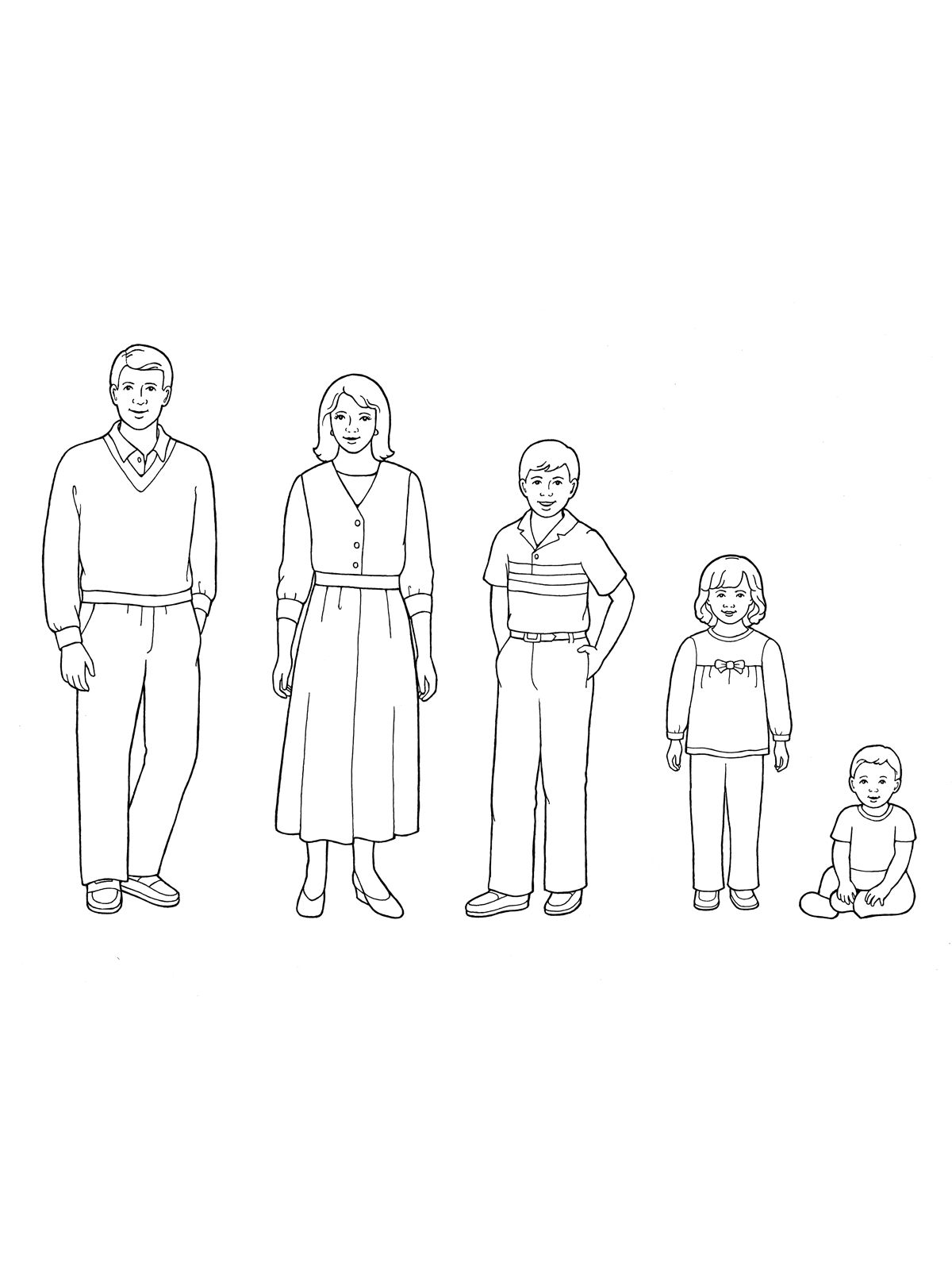 Family of Five Standing with a Baby Boy Sitting