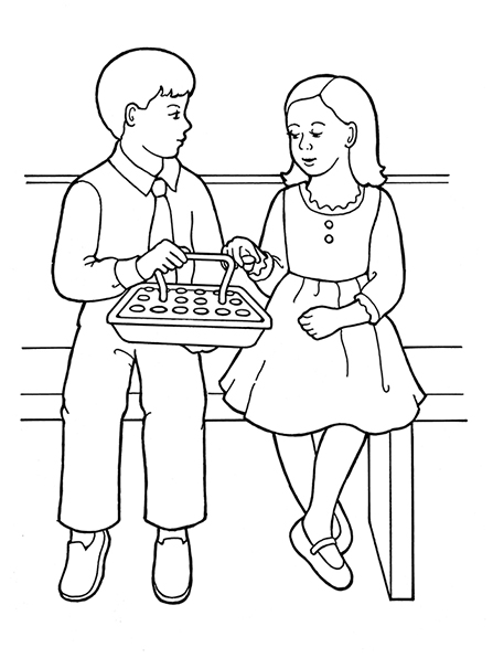 People Sitting On Park Bench Sketch Coloring Page