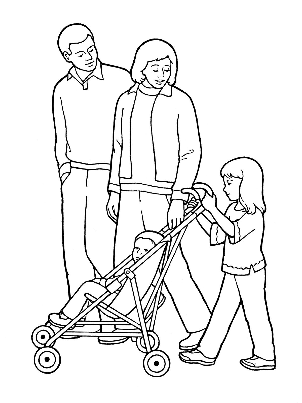 Family Pushing a Stroller