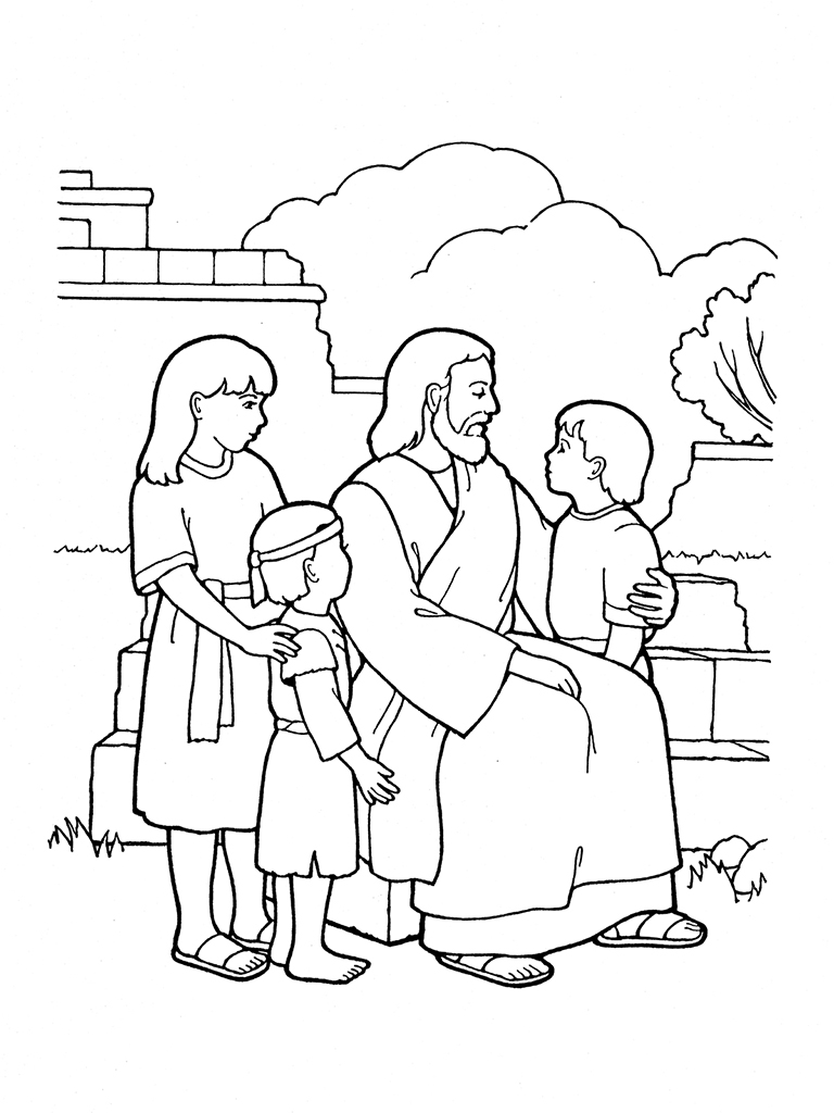 Free coloring pages of jesus blessing the children