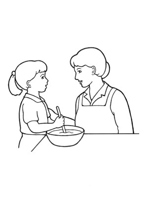mother child drawing daughter mom working woman cooking line cartoon kitchen children nursery primary lds drawings help cook together ones