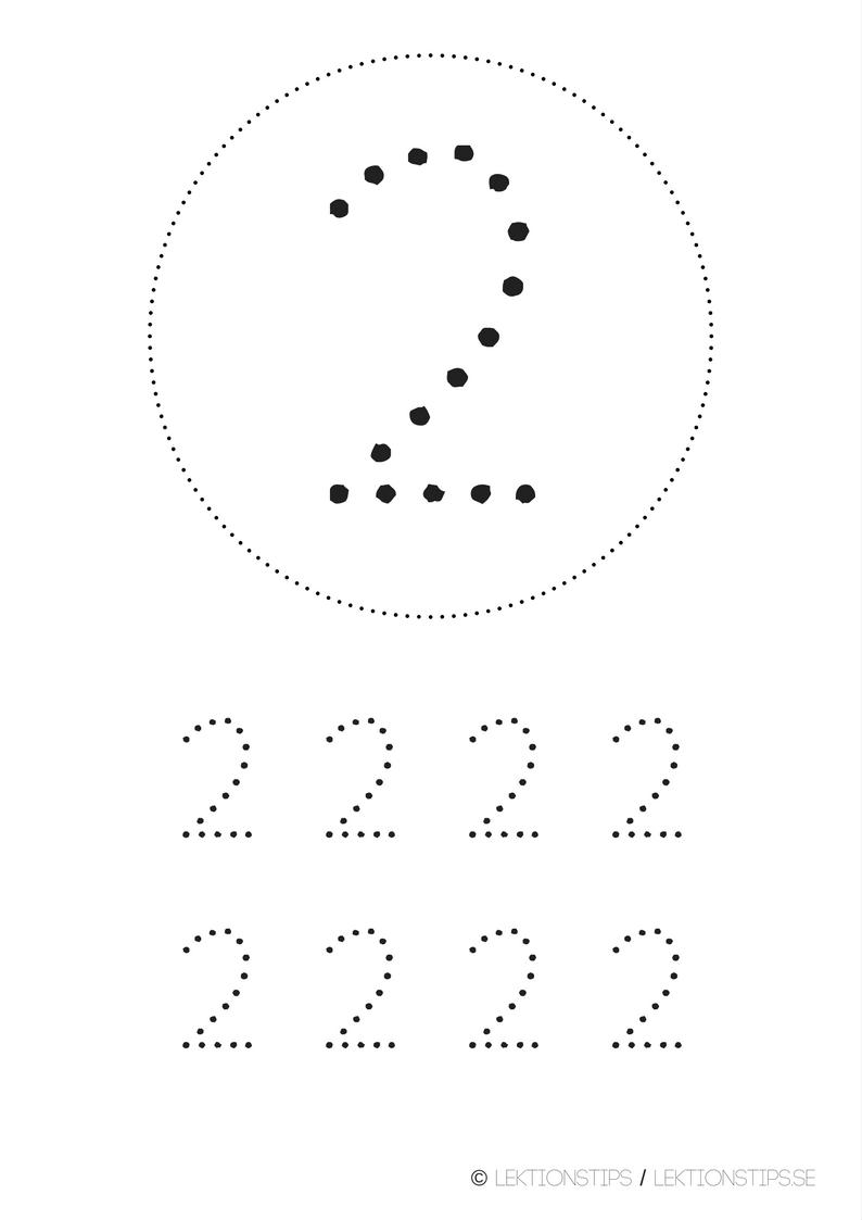 lektioner, lektionsmaterial, gratis lektioner, skolmaterial, knep och knåp, pyssel, stenciler, matte, matematik, mattestenciler, lära sig räkna, siffror, nummer, 2