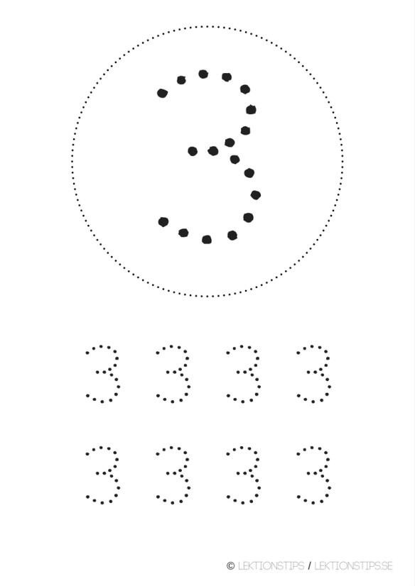 lektioner, lektionsmaterial, gratis lektioner, skolmaterial, knep och knåp, pyssel, stenciler, matte, matematik, mattestenciler, lära sig räkna, siffror, nummer, 3