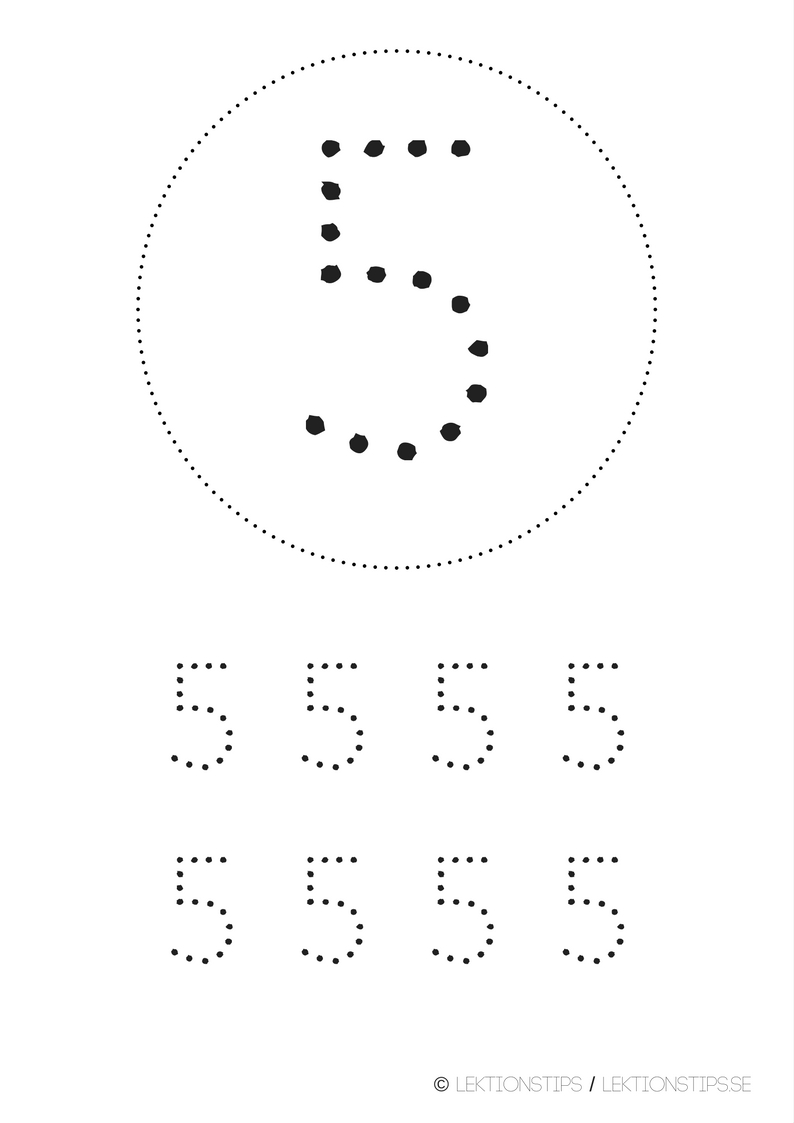 lektioner, lektionsmaterial, gratis lektioner, skolmaterial, knep och knåp, pyssel, stenciler, matte, matematik, mattestenciler, lära sig räkna, siffror, nummer, 5