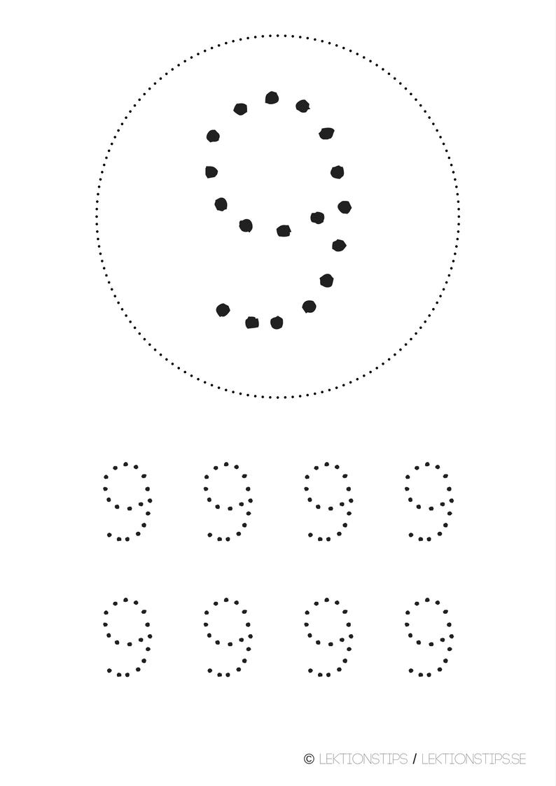 lektioner, lektionsmaterial, gratis lektioner, skolmaterial, knep och knåp, pyssel, stenciler, matte, matematik, mattestenciler, lära sig räkna, siffror, nummer, 9
