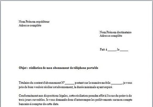Exemple Lettre Resiliation Free Mobile Resume Examples