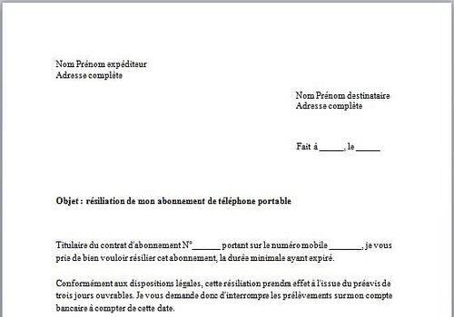 modele lettre resiliation free mobile