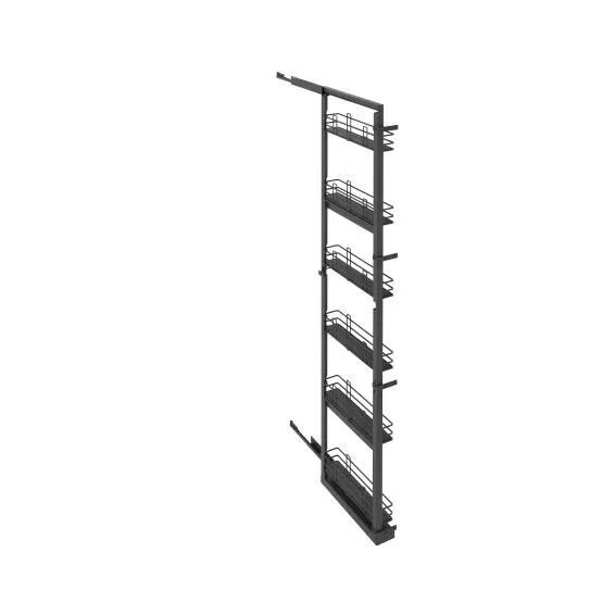 Kitchen sliding wire basket long pantry cabinet grey 58cm