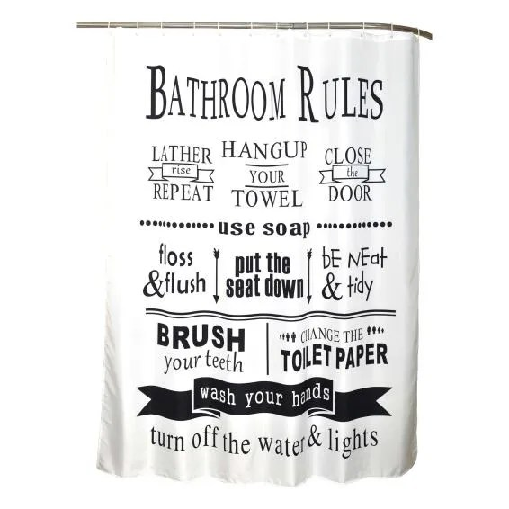 shower curtain pattern with bathroom rules white and black l180x200
