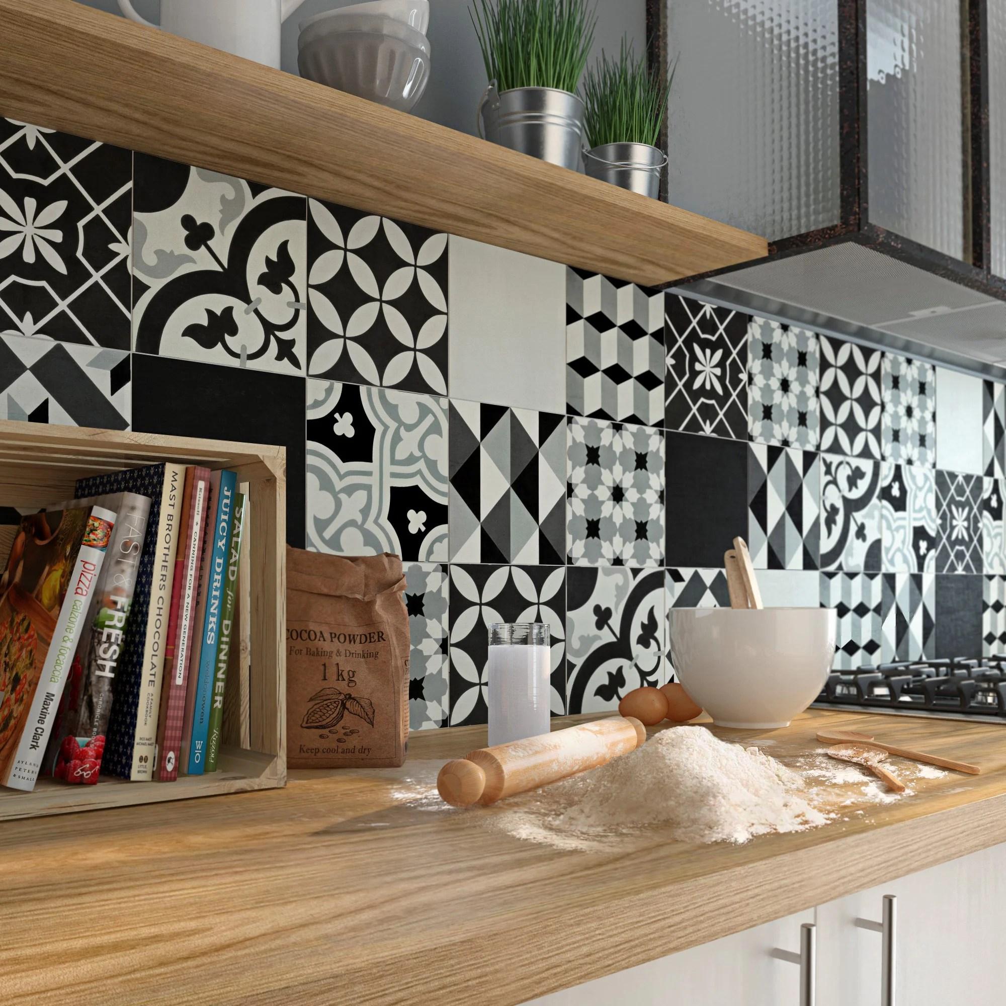 patchwork noir et blanc en carreaux de