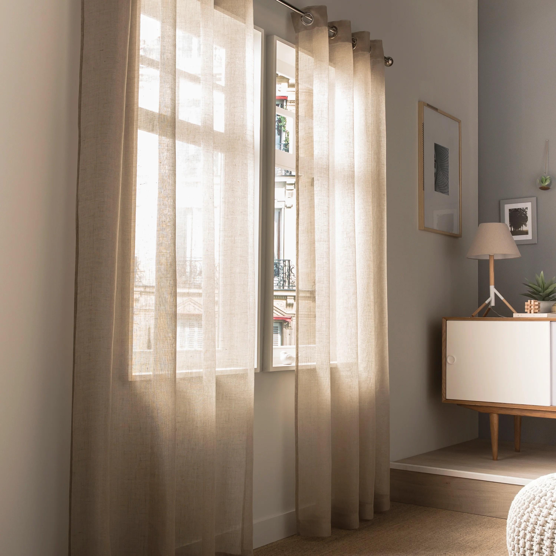 des rideaux beiges en lin pour style