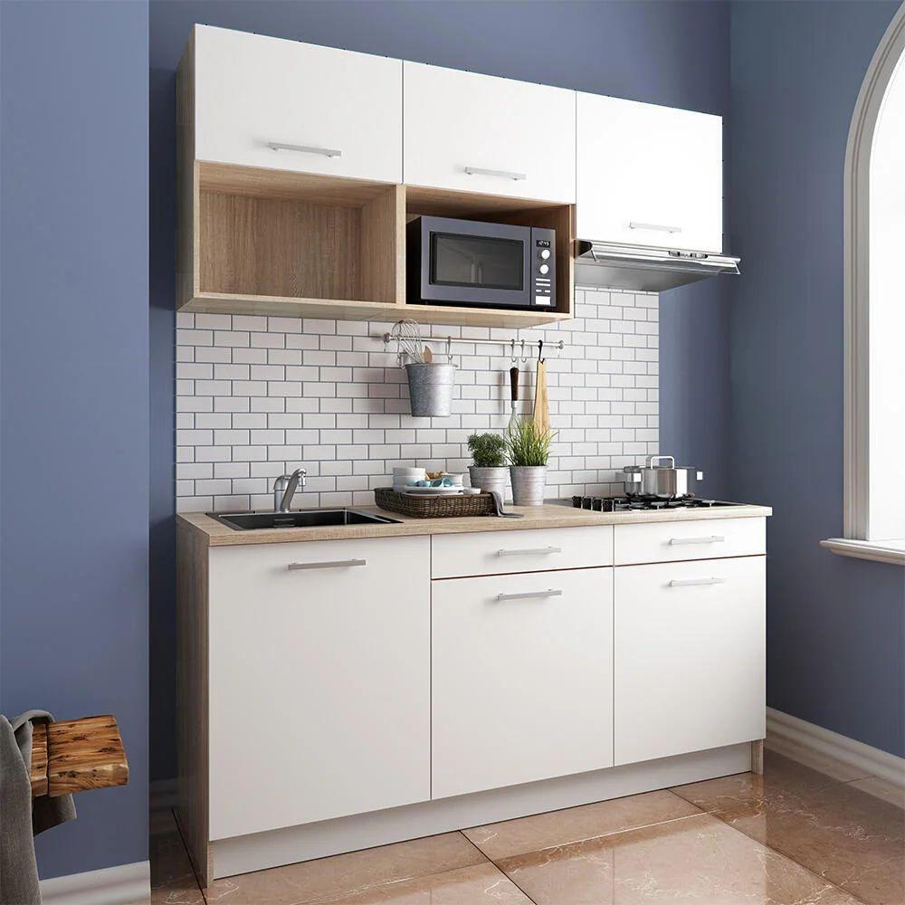 La difficoltà successiva di smontare i pezzi; Cucina In Kit One Bianco E Rovere L 180 Cm Leroy Merlin