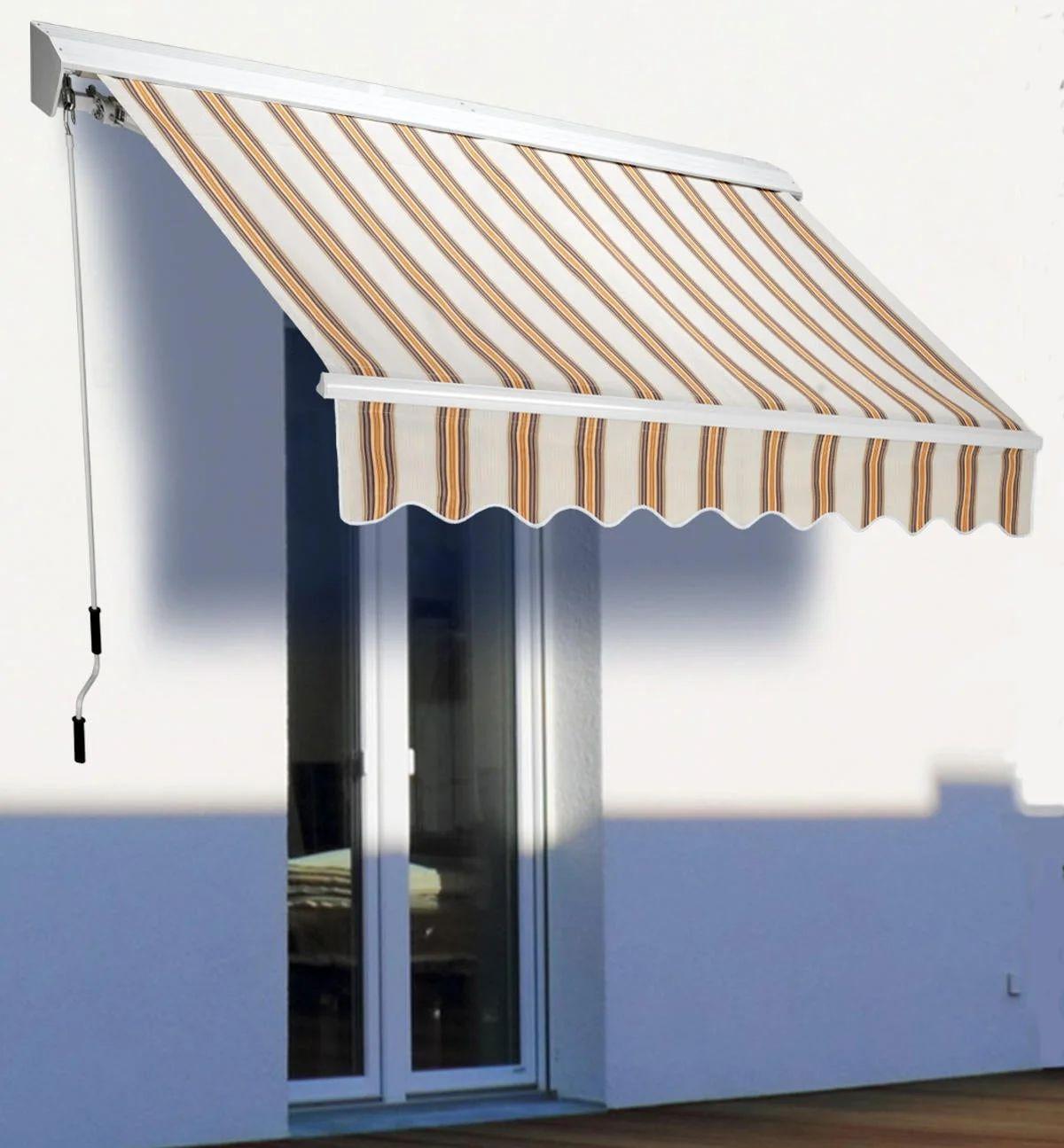 Main image of outsunny tenda da sole avvolgibile manuale esterno tessuto di. Tenda Da Sole A Bracci Estensibili L 3 X H 2 M Beige Leroy Merlin