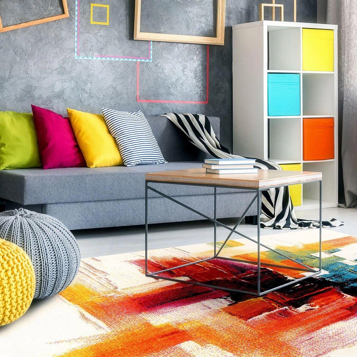 Arredare il soggiorno con librerie e scaffali. Tappeto Gallery D Colori Assortiti 133x190 Leroy Merlin