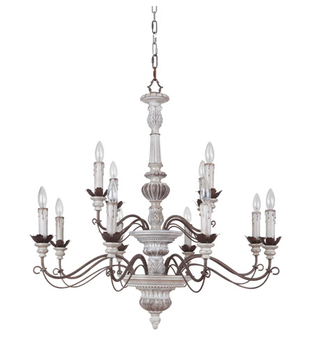 Jeremiah By Craftmade Rosedale 12 Light Chandelier In Antiqu White And Bronze Distressed 35212 Awbd