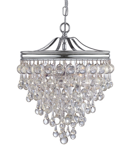 Crystorama 130 Ch Calypso 3 Light 12 Inch Polished Chrome Mini Chandelier Ceiling In