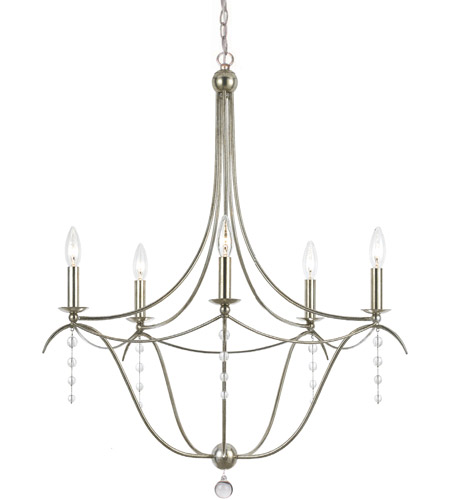 Crystorama 435 Sa Metro 5 Light 28 Inch Antique Silver Chandelier Ceiling Photo