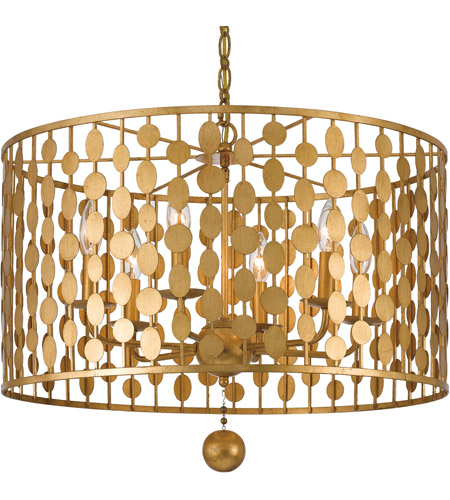 Crystorama 546 Ga Layla 6 Light 24 Inch Antique Gold Chandelier Ceiling In