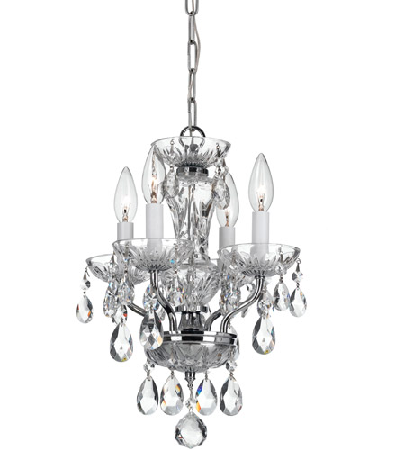 Crystorama 5534 Ch Cl Mwp Traditional Crystal 4 Light 11 Inch Chrome Mini