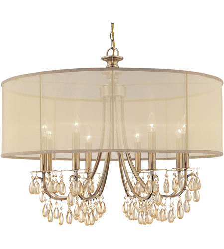Crystorama 5628 Ab Hampton 8 Light 32 Inch Antique Brass Chandelier Ceiling In