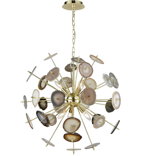 Dimond Lighting D3370 Galileo 6 Light 28 Inch Bright Gold And Natural Agate Chandelier Ceiling