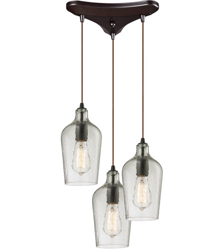 Elk 10331 3clr Hammered Glass 3 Light 10 Inch Oil Rubbed Bronze Chandelier Ceiling In Clear