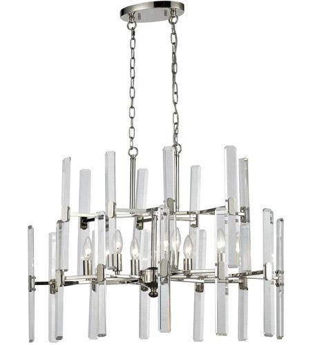 Elk 33033 6 Crystal Heights Light 30 Inch Polished Nickel Chandelier Ceiling