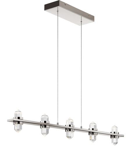 arabella led 2 inch polished nickel chandelier linear single ceiling light