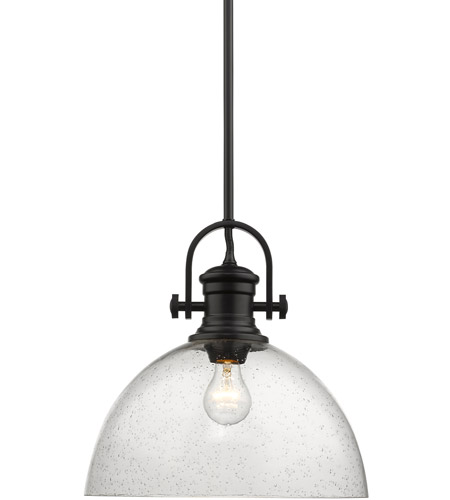 hines 1 light 14 inch matte black pendant ceiling light in seeded glass large
