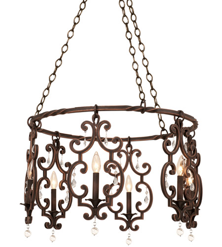 Kalco 2639ac Montgomery 6 Light 27 Inch Vintage Iron Chandelier Ceiling In Antique Copper